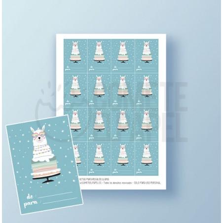 Etiquetas regalos imprimible de llama 2