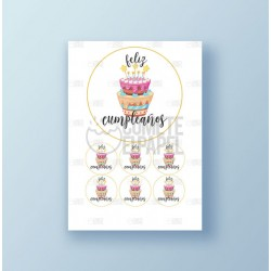 Papel de azúcar tarta Cumpleaños 3