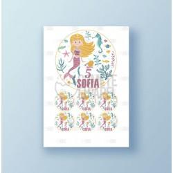 Papel de azúcar tarta Cumpleaños Sirena 2