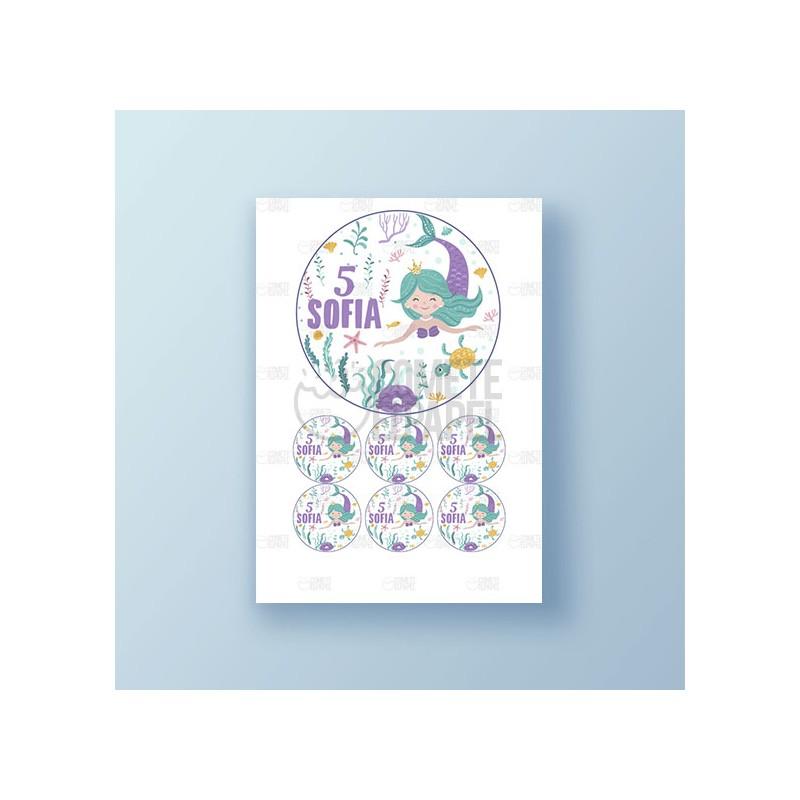 Papel de azúcar tarta Cumpleaños Sirena 5