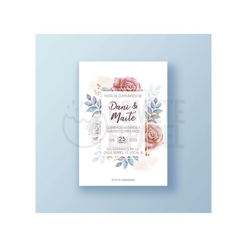 Invitación cumpleaños imprimible Flores