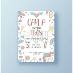 Invitación cumpleaños imprimible unicornio